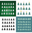 set christmas tree silhouette design vector image