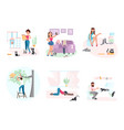 set of cat owners and cute animals vector image
