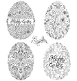 set of floral easter eggs vector image