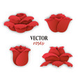 set of four paper red roses vector image vector image