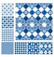 Set of seamless patterns - blue ceramic tiles with vector image