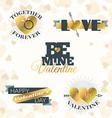 Set of Valentines Day Typography Elements Golden vector image