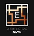 silver letter e logo in silver-golden square maze vector image vector image