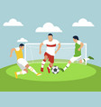 sports match men play football in minimalist vector image