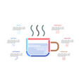 steaming cup coffee consisted colorful lines vector image