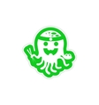 stylish paper sticker on white background octopus vector image vector image