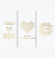 valentine day greeting cards set ornate element vector image