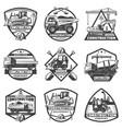 vintage monochrome construction labels set vector image vector image