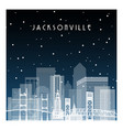 winter night in jacksonville night city vector image vector image