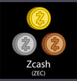 zcash cryptocurrency coins vector image vector image