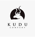 abstract minimalist kudu logo on white background vector image
