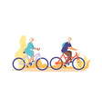 autumn bike ride concept flat elderly characters vector image