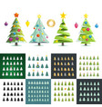 big set of different christmas trees silhouette vector image vector image