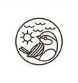 bird mono line logo vector image vector image