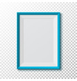 Blue blank picture frame on transparent vector image vector image