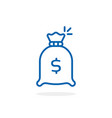 blue thin line money bag icon vector image