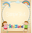 Border design with girl and boy vector image vector image