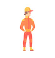 car racing driver man in an orange uniform member vector image vector image