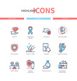 charity concept - line design style icons set vector image