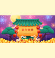 chinese new year fireworks over house roof vector image
