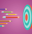colored pencils flying at target vector image