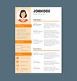 company application cv resume template card poster vector image