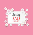 creative spring sale banner background paper cut vector image vector image