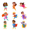 cute boys and girls in superhero costumes and vector image vector image