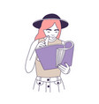 cute smart girl in hat reading book or magazine vector image vector image