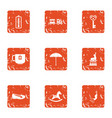 debut icons set grunge style vector image vector image