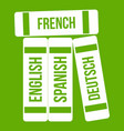 dictionaries icon green vector image vector image