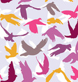 Doves and pigeons seamless pattern on lilak vector image vector image