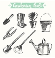 Drawn gardening tools sketch vector image vector image