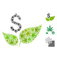 eco startup mosaic of weed leaves vector image