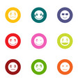 emotional install icons set flat style vector image vector image