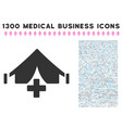 field hospital icon with 1300 medical business vector image vector image