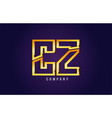 gold golden alphabet letter cz c z logo vector image vector image