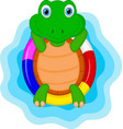 green turtle cartoon relaxing vector image vector image