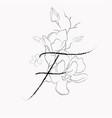 handwritten line drawing floral logo monogram f vector image