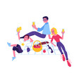 happy man women at picnic party vector image