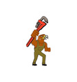 Hawk Mechanic Pipe Wrench Cartoon vector image vector image