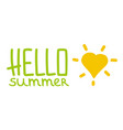 hello summer horizontal logo vector image vector image