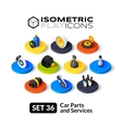 Isometric flat icons set 36 vector image