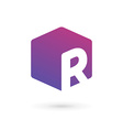 Letter R cube logo icon design template elements vector image vector image