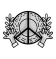 line hippie emblem with hands and branches design vector image vector image