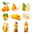 pear fruit food products and juicy drinks vector image