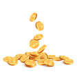 realistic falling coins golden coin falling down vector image