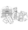 saloon wild west goldfield pick and oil lamp vector image