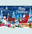 santa and christmas gifts on reindeer sleign vector image vector image