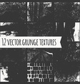 Set of different grunge textures vector image vector image